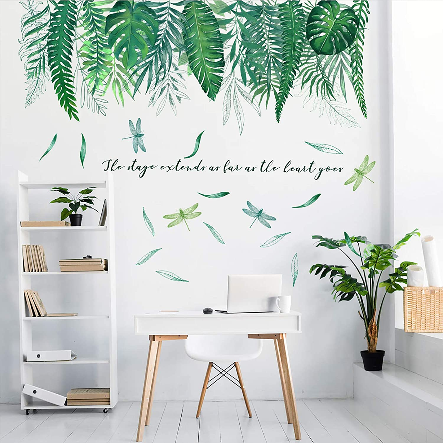Tropical Green Plants Leaves Wall Decals, Removable PVC Dragonfly Peel and Stick Wall Stickers, Creative Mural Decoration for Decor Kids Nursery Baby Home Living Room Bedroom Kitchen (39x29.5in)