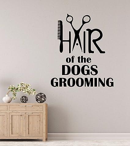 Pegatina pared vinilo decorativo peine peluquerias caninas escaparates mascotas perros gatos clinicas veterinarias de CHIPYHOME