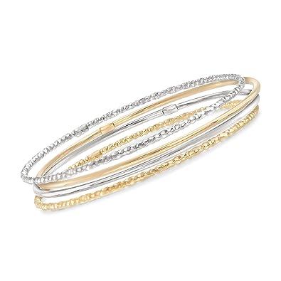 67a08ca3c39 Amazon.com: Ross-Simons 18kt Two-Tone Gold Jewelry Set: Six Bangle ...