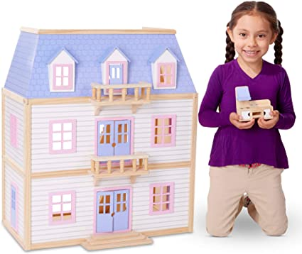 Wooden Purple House Toy Handmade Craft Miniature Dollhouse Charm Lovely Gift