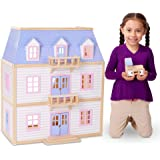 Amazon Com Melissa Amp Doug Deluxe Wooden Furnished Dollhouse Melissa Amp Doug Toys Amp Games