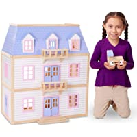 Melissa and Doug MD4588 Wooden Multi-Level Dollhouse (19 Pieces)
