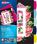 Avery Big Tab Reversible Paper Fashion Dividers, Floral Message, 5 Tabs, Assorted Patterns, 1 Set (12852)
