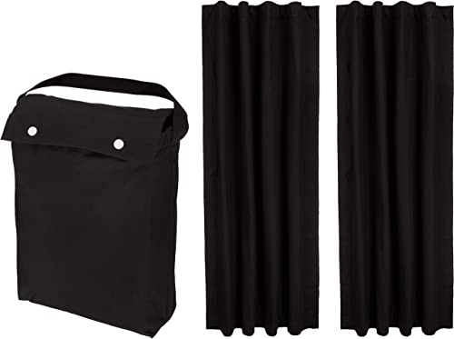 AmazonBasics Portable Travel Window Blackout Curtain Shades with Suction Cups – Black, 2-Pack