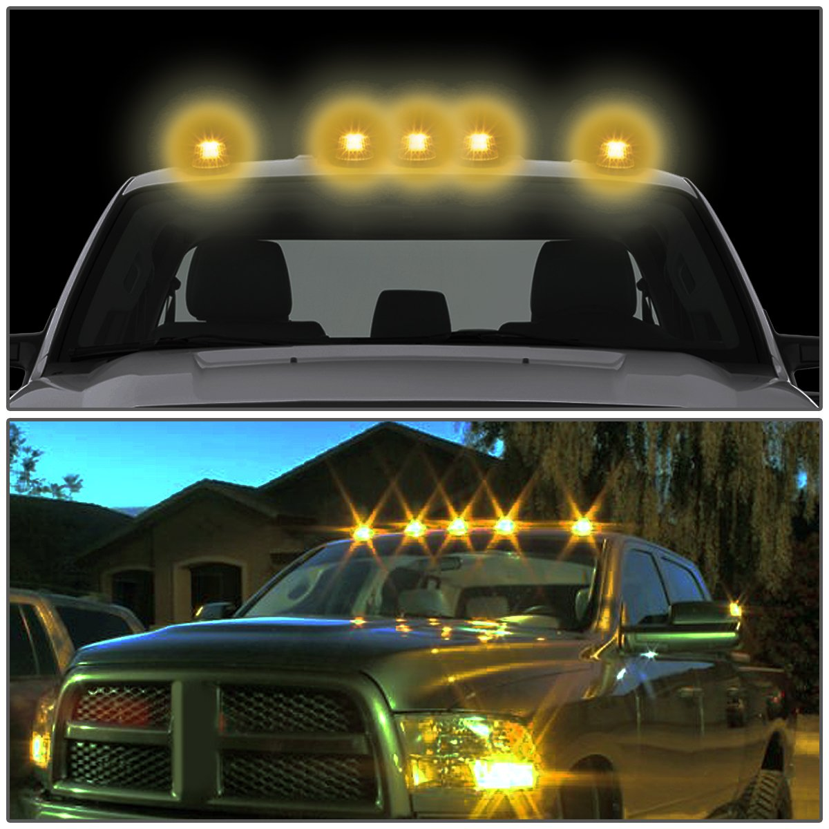 Amazon.com: For Ford Superduty 5 X LED Cab Roof Top Lights + Wiring (Smoked  Housing Yellow LED): Automotive