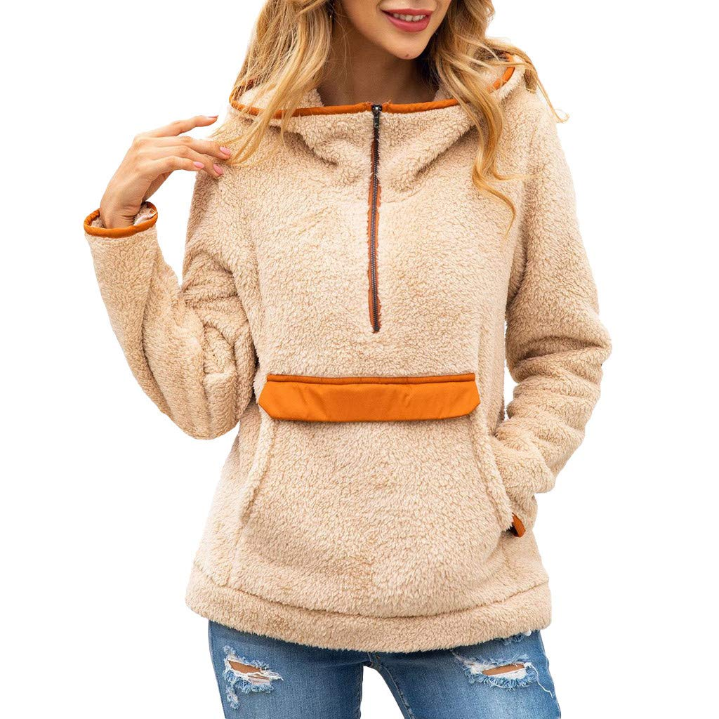 Ros1ock Women's Sweaters Flannel Long Sleeve Hoodie Zipper Turtleneck Patchwork Pullover Tops Khaki by Ros1ock_Women's Tops