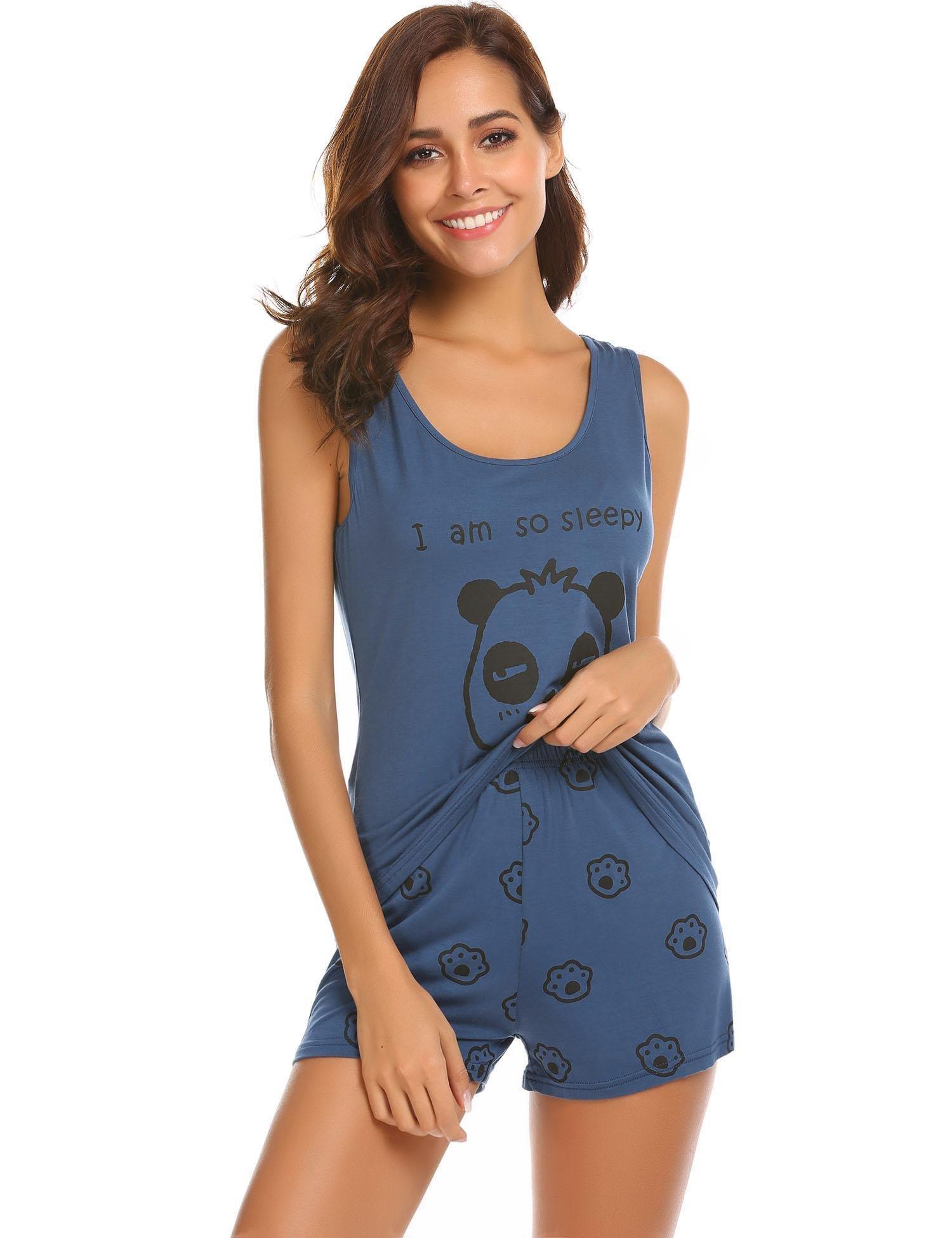Ekouaer Women's Printed Tank Top and Shorts Sleepwear Pajama Set (Navy Blue M)