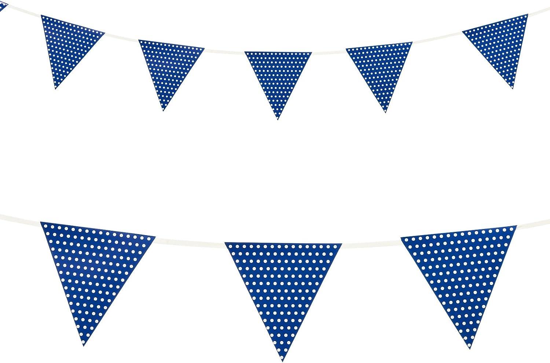 Kleine Wimpel-Girlande Happy Dots 274 cm blau