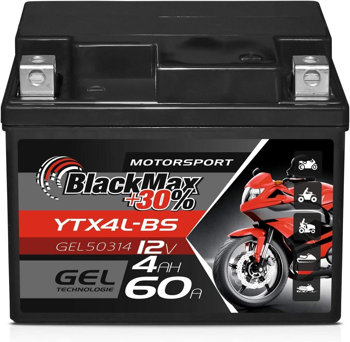 Blackmax Ctx4l Bs Motorradbatterie Ytx4l Bs Gel 12v 4ah Roller Batterie 50314 Auto