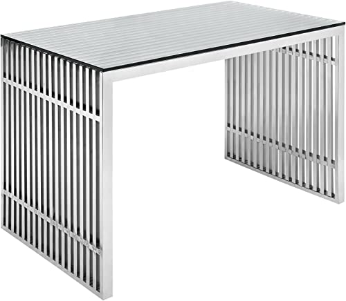 Modway Gridiron Stainless Steel Office Desk