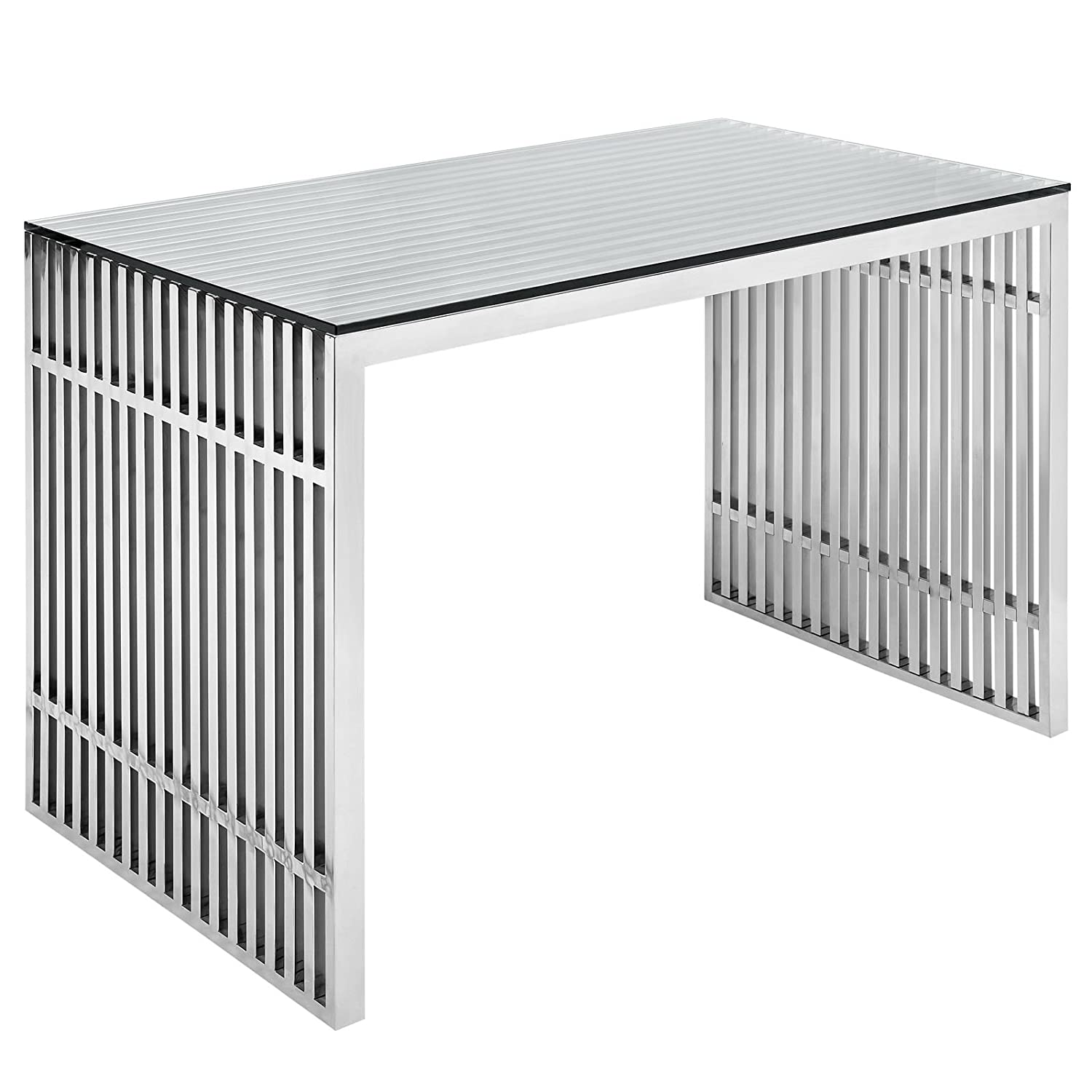 amazoncom modway gridiron stainless steel office desk in silver kitchen dining. amazoncom modway gridiron stainless steel office desk in silver