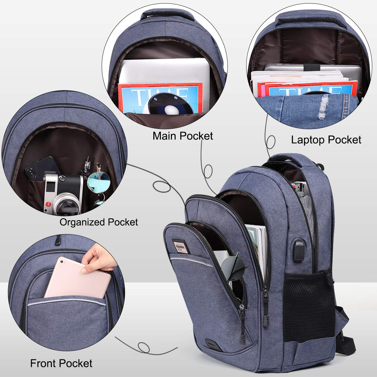 Blau Herren Rucksack mit USB-Ladeanschluss KUSOOFA Business Rucksack Schulrucksack f/ür 15,6 Zoll Laptop Notebook Tablet Rucksack f/ür Schule Arbeit