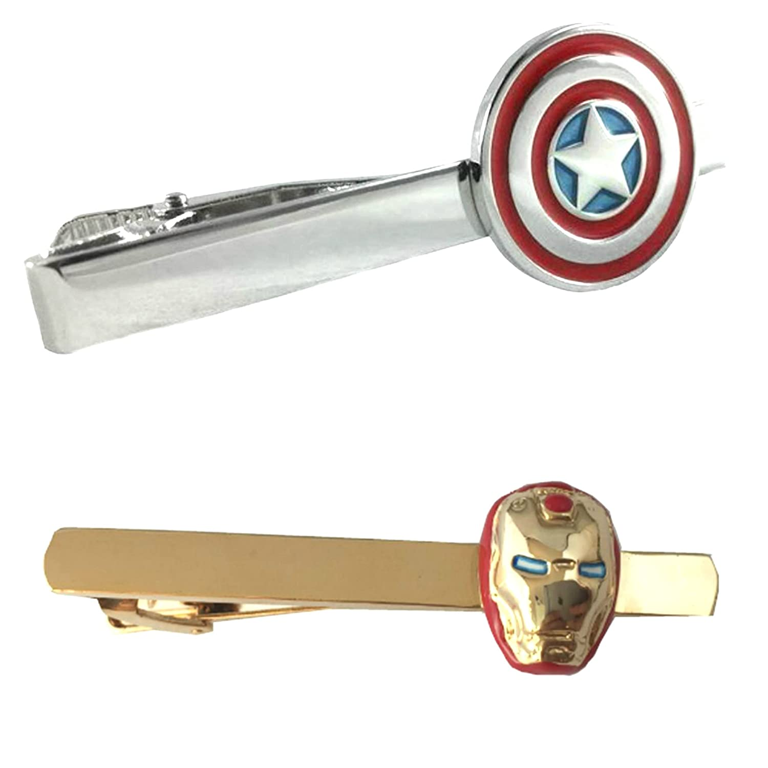 Outlander Marvel Comics - Captain America & Ironman - Tiebar Tie Clasp Set of 2 Wedding Superhero Logo w/Gift Box Outlander Brand