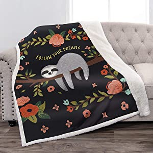 """Jekeno Sloth Sherpa Blanket Comfort Warm Print Fleece Throw Blanket for Sofa Chair Bed Office Travelling Camping Gift 50""""x60"""""""