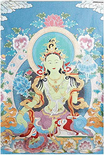 Prime Feng Shui Silk Embroidery Tibetan Thangka with Buddhism Green Tara Wall Hanging for Home Buddhist Temple D cor Large