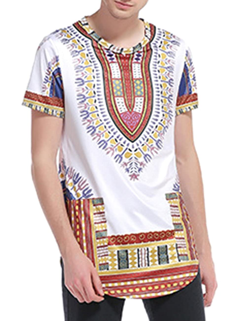 761bf6623250 Miskely Men s Dashiki T Shirt Bright African Traditional Printed Summer Hip  Hop Cotton Top Tees