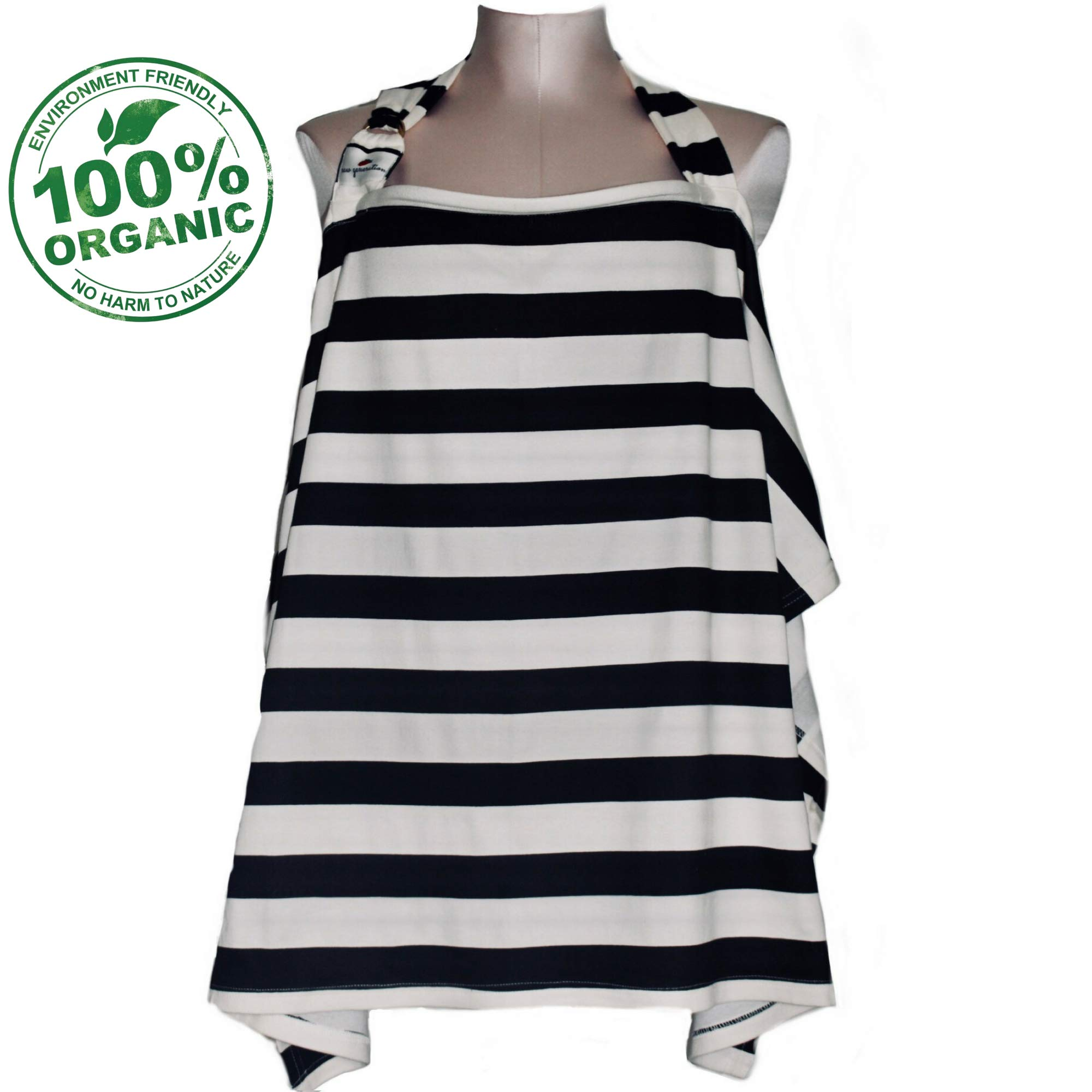 Raw Generation Nursing Cover | Multi-Use Breastfeeding Cover | Nursing Cover for Breastfeeding Babies | 100% Organic Cotton with Wire Hoop | Chic Black & Cream Stripes| Free Pouch Bag| for Boy & Girl