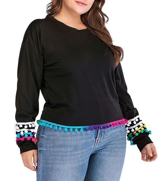 9a13c8f826b712 Dean Fast Women Plus Size Long Sleeve Tassel Hem Tee Shirts Casual Blouse  Pullover Black XL