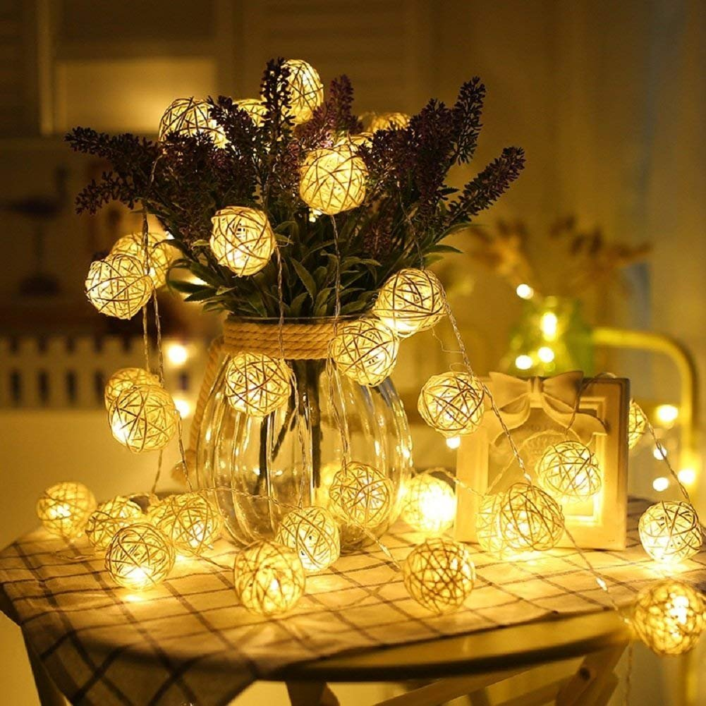 Globe Rattan Ball String Lights, Goodia 13.8feet 40 LED Warm White Fairy Light for Indoor,Bedroom,Curtain,Patio,Lawn,Landscape,Fairy Garden,Home,Wedding,Holiday,Christmas Tree,Party