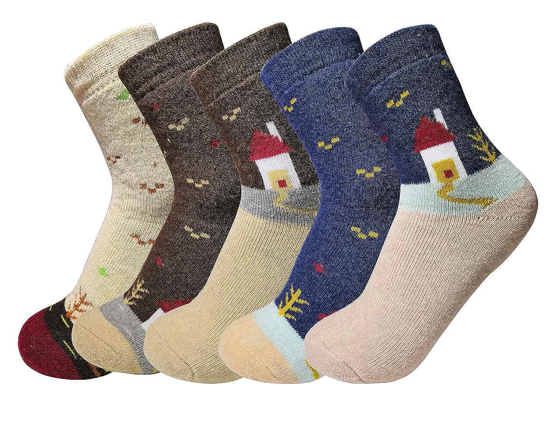 Oliked Calze di lana, annata donne calzini per l'inverno 5-pack colori mix annata donne calzini per l' inverno 5-pack colori mix