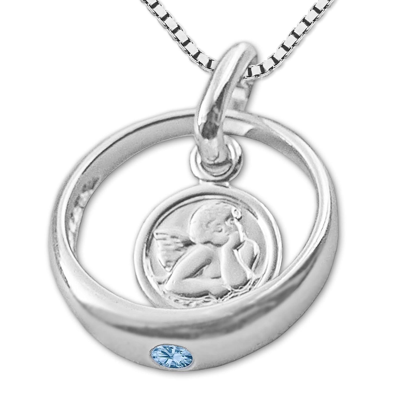 CLEVER SCHMUCK Set Silberner Taufring Engel Rund mit Zirkonia Hellblau blautopas-Farbig und Kette Venezia 36 cm glänzend Sterling Silber 925 ahs1013-v36_925