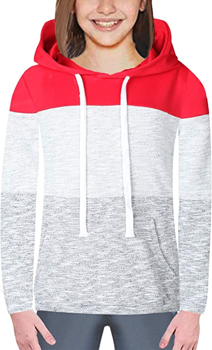 Miss Bei Girls Hoodie Sweatshirts Color Block Oversize Long Sleeve Lightweight Drawstring Casual Pullover Hooded Tops