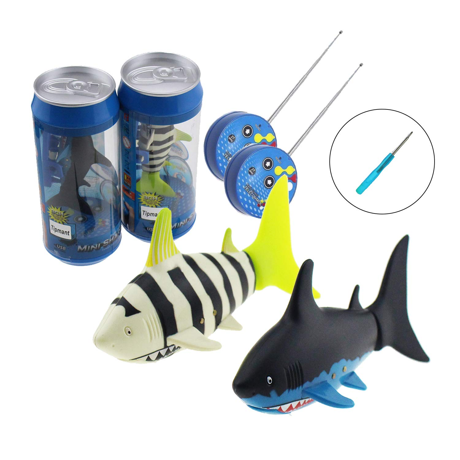 2 Pack Tipmant Mini RC Fish Shark Radio Remote Control Boat Ships & Submarine Swim in Water Kids Electric Toy (2 Fish + 1 Screwdriver)