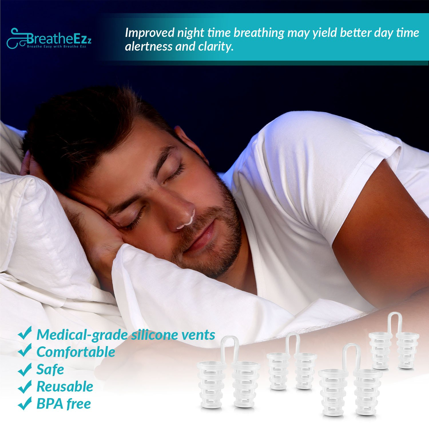Anti Snoring Solutions, Nasal Dilators, Nose Vent Anti Snoring Device Snore Stopper – Snoring Solution Sleep Aid Device Set of 4 by Breathe Ezz by Breathe Ezz (Image #4)