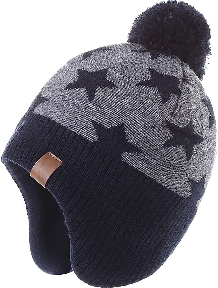 AHAHA Boys Winter Hat Fleece-Lined Skiing Toddler Hat Scarf Set Upgrade Knit Earflap Beanies for Baby