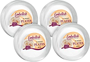 [80 Count] Embellish 6 Inch Dessert Plates Crystal Clear Disposable Heavy Duty Plastic, Ideal For Wedding, Catering, Parties, Buffets, Events, Or Everyday Use, 4 Packs