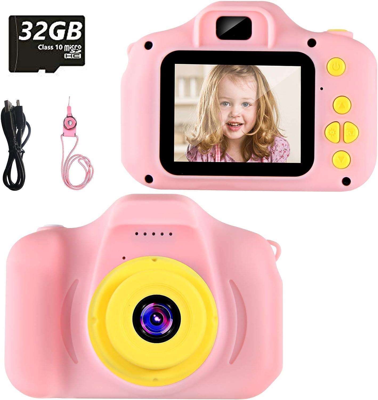 vatenick Cámara para Niños Juguete para Niños Cámara Digital para Niños pequeños 2 Inch HD Pantalla 1080P with Calidad 32GB TF Tarjeta Regalos Juguete para 3 a 12 años Niños y niñas… (Rosa)