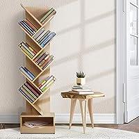 Artiss 9 Tier Tree Bookshelf Wooden Bookcase CD DVD Storage Rack, Natural