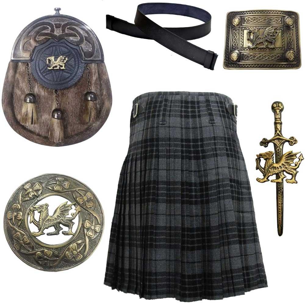 Scottish & Highland Kilt Various Tartans with Leather Sporran,Kilt Belt Belt,Fly Plaid Brooch,Belts Buckle Kilt PIn (34''Inch, Grey Watch Tartan Kilt) by House Of Scotland