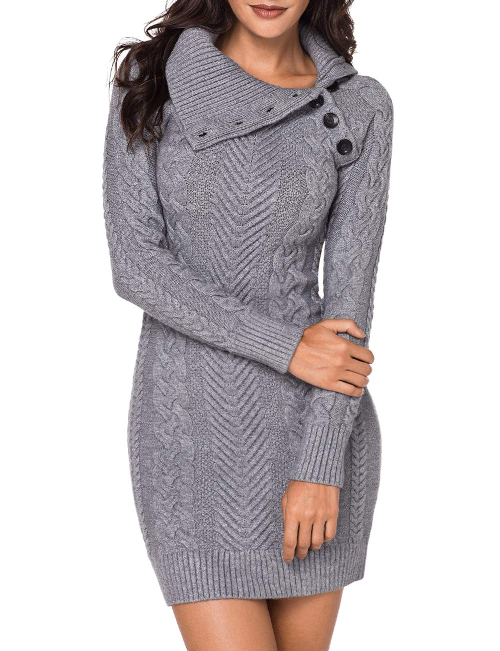 Lookbook Store Women's Grey Asymmetric Button Collar Cable Knit Bodycon Sweater Dress S