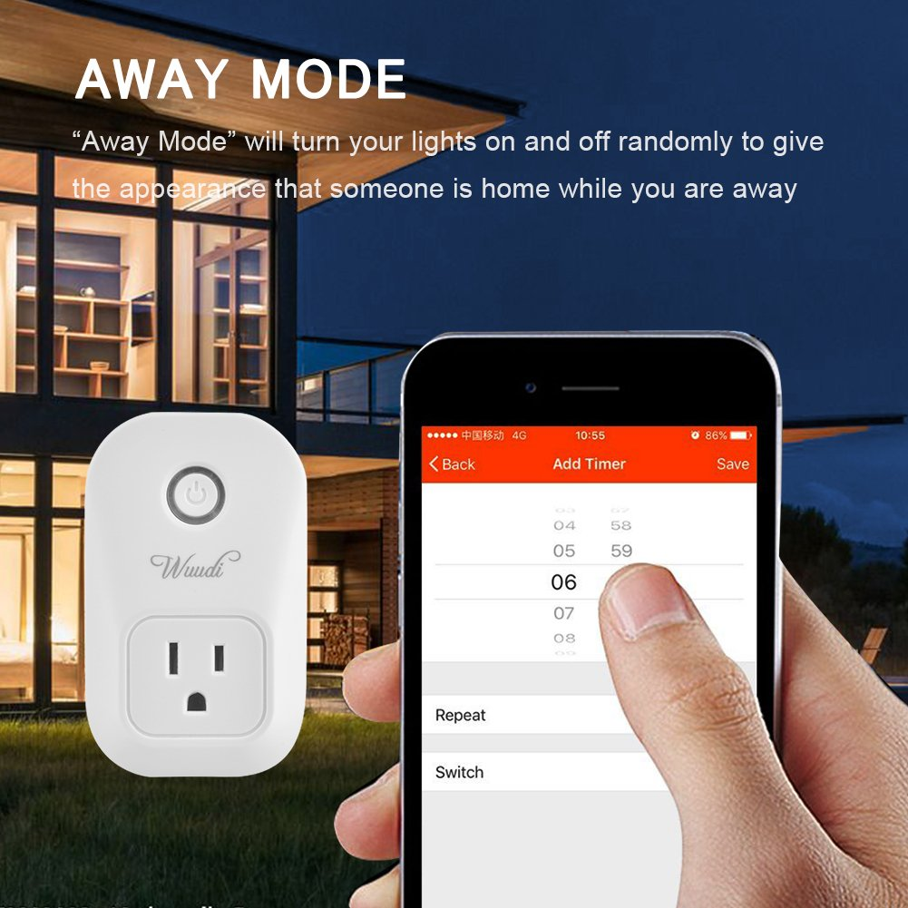 Wifi Smart Plug Wuudi Wireless Outlet No Hub Required Smart Timing Socket, Wireless Remote Control Your Devices Work with Alexa (2 Packs) by Wuudi (Image #6)