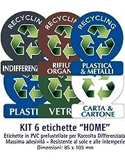 Etichette autoadesive per raccolta rifiuti - KIT HOME (PICCOLO) - 6 etichette assortite 8x10cm
