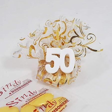 Cinquantesimo Anniversario Di Matrimonio.Sacchetto Con Tiranti Portaconfetti Bomboniere Anniversario Di