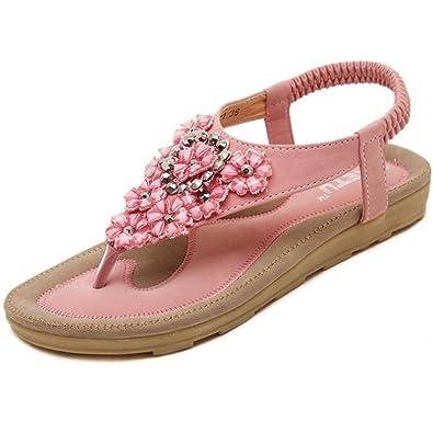 YOUJIA Damen Flach Sandale Böhmen Blumen Dekoration Beach Zehentrenner Flip Flops Rosa 36 w6xubuSNmA