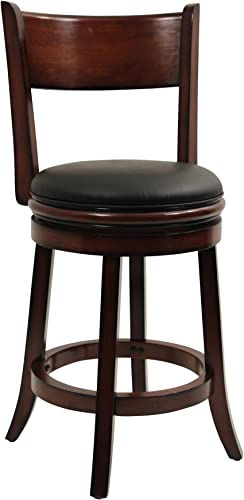 Boraam Palmetto Swivel Stool, 24-Inch, Chestnut