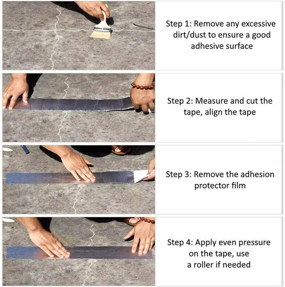 Window Sill Gap W T Surface Crack L x1.2mm Pipe Rupture,Etc A Super Strong Waterproof Butyl Tape for Roof Rubber Aluminium Foil Coating Flashing Repair Tape 100mm x5M Repair Roof Leak