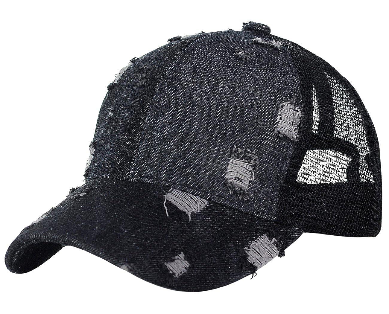 32eae00ed91 C.C Ponycap Messy High Bun Ponytail Distressed Vintage Mesh Trucker  Baseball Cap Black BT8-BK