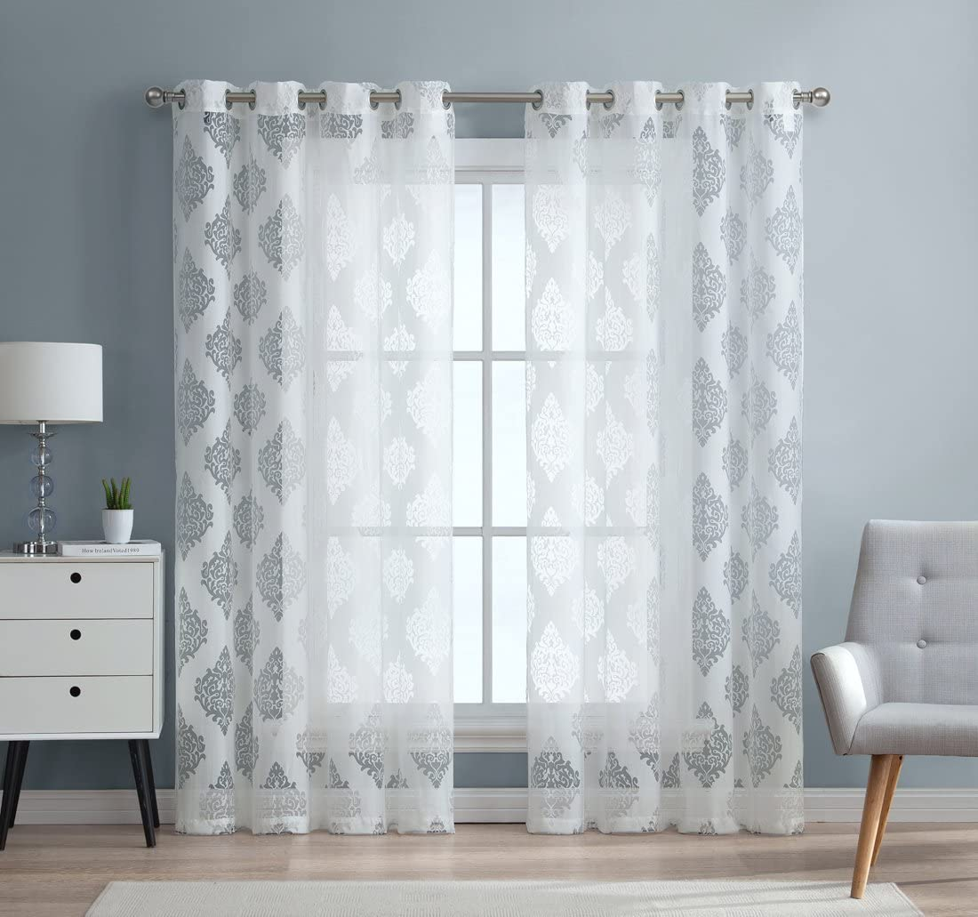 Hlc Me Adel Damask Burnout Window Sheer Voile Curtain Grommet Panels For Living Room Set Of 2 96 Inch White Home Kitchen