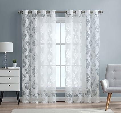 ME Adel Damask Burnout Window Sheer Voile Curtain Grommet Panels