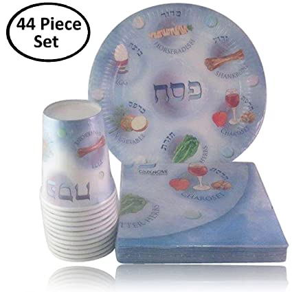 Passover Disposable Paper Plates Cups and Napkins for Seder Table Decoration.  sc 1 st  Amazon.com & Amazon.com: Passover Disposable Paper Plates Cups and Napkins for ...