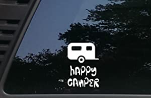 High Viz Inc Happy Camper w RV - 3 1/2 inches by 5 inches die Cut Vinyl Decal for Cars, Trucks, Windows, Boats, Tool Boxes, laptops - virtually Any Hard Smooth Surface