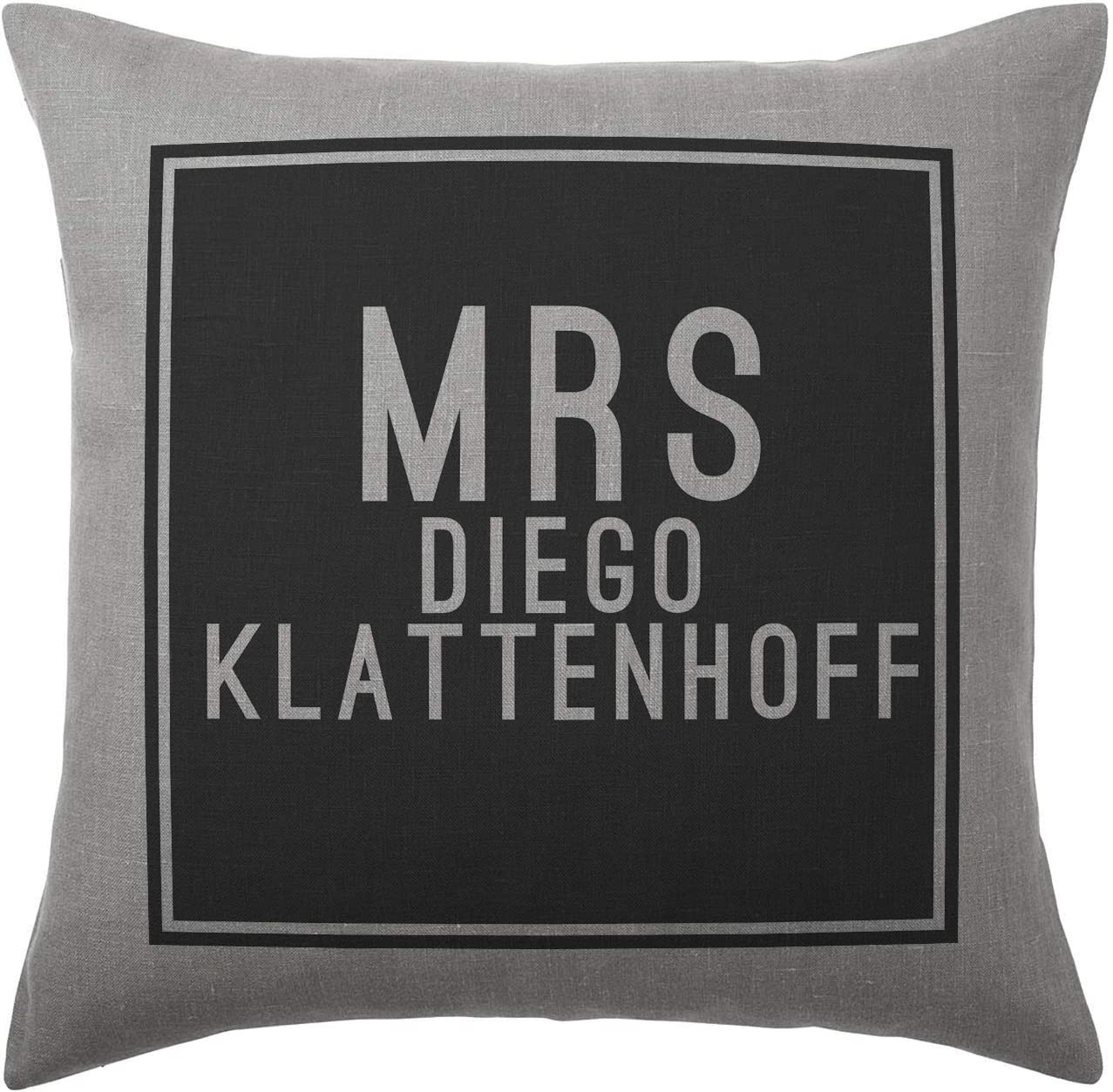 Stocking Fillers Diego Klattenhoff Cushion Pillow Grey 100/% Cotton Available with or without filling pad Cover and filling pad 40x40cm