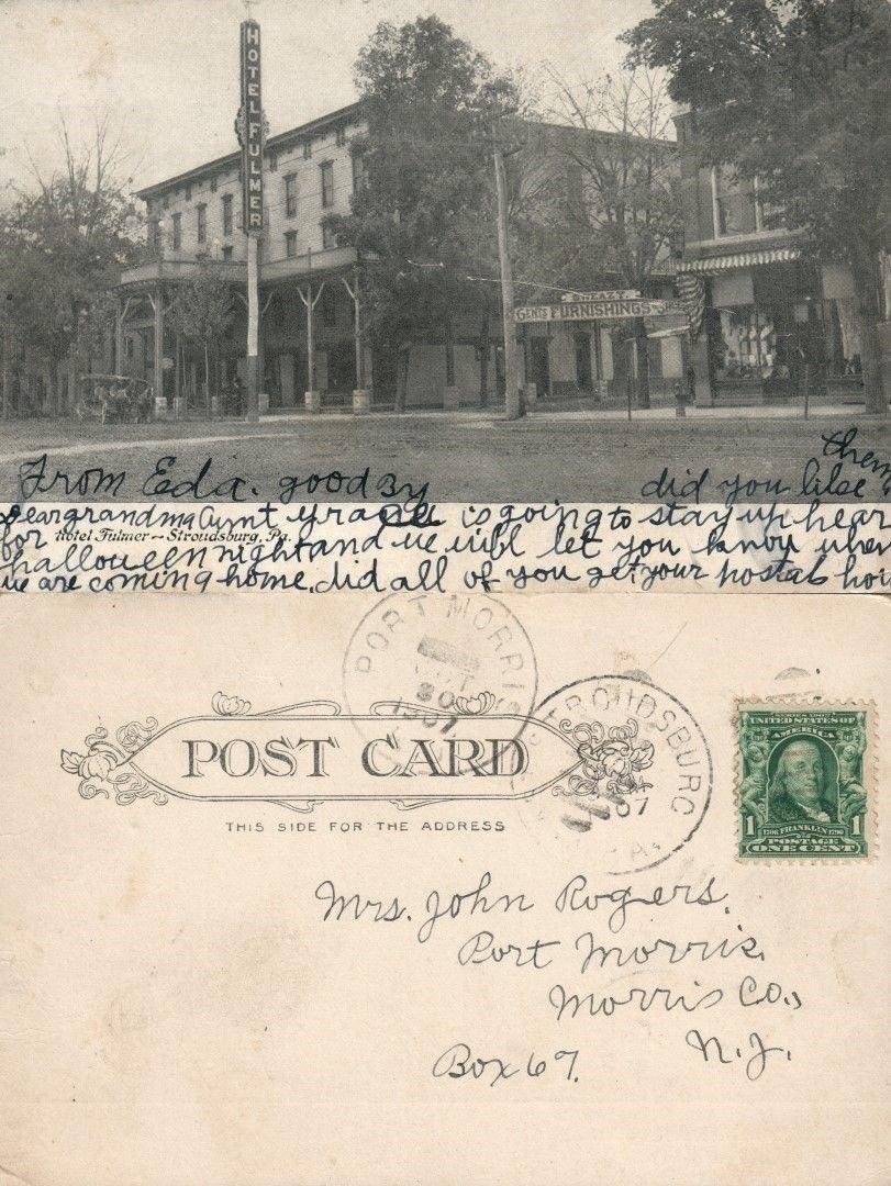 Amazon com : STROUDSBURG PA HOTEL FULMER 1907 UNDIVIDED ANTIQUE