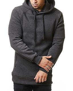 fff8f2056f10 EightyFive Herren Hoodie Long Oversized Kapuzenpullover Sweater Grau EF2828