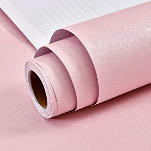 """Pink Wallpaper Embossed Solid Color Contact Paper Decorative Peel and Stick Wallpaper Self Adhesive Removable Wallpaper Wrapping Paper Gift Shelf Paper Liner Vinyl Film for Girls' Room17.7"""" X 118"""""""