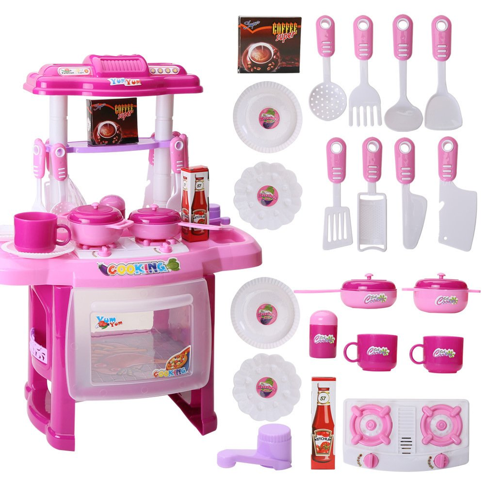 Amazon.com : AutoLover Kids Kitchen Toy, Kitchen Playset Simulation Kitchen  Cookware Pretend Role Play Toy With Music Light(Pink) : Baby